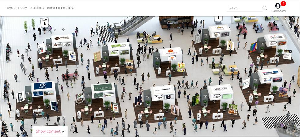 One of the three virtual trade fair exhibition halls